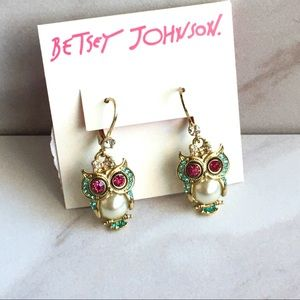 BETSEY JOHNSON Owl Drop Pearl and Crystal Earrings